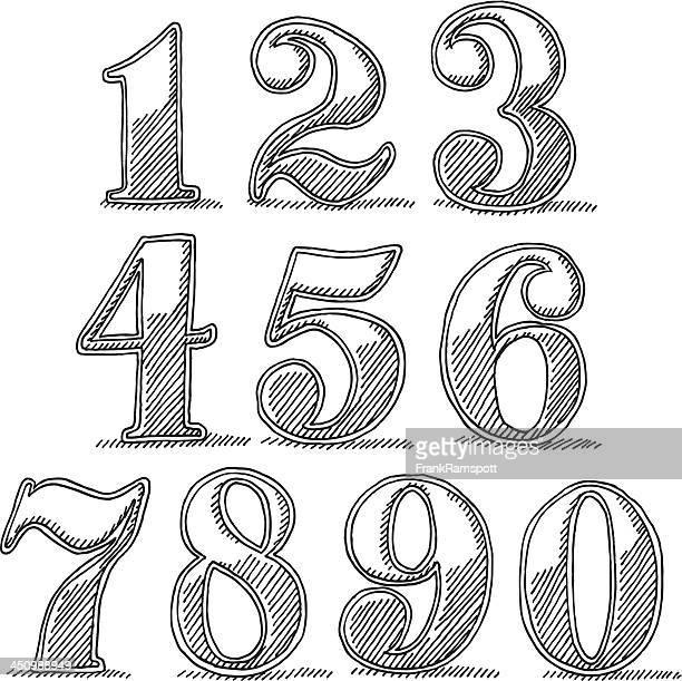 Vintage-Stil-Nummern Zeichnung