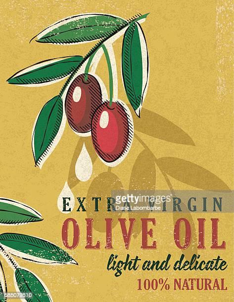 vintage style olive oil poster - obsolete stock illustrations