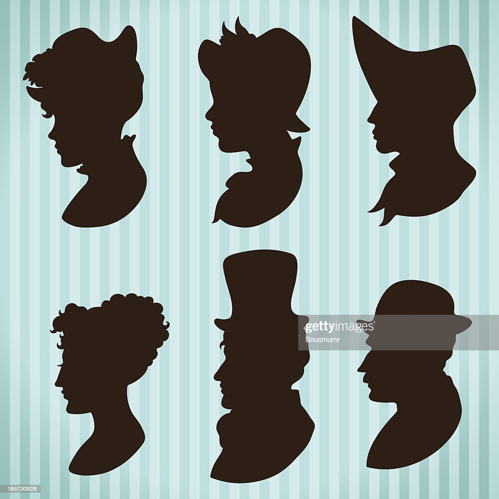Vintage style people profiles silhouettes