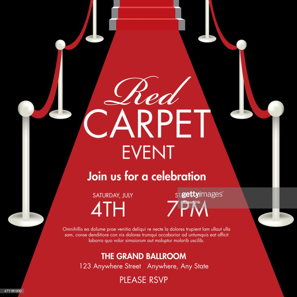 Vintage style Red and black Carpet Event ticket invitation template