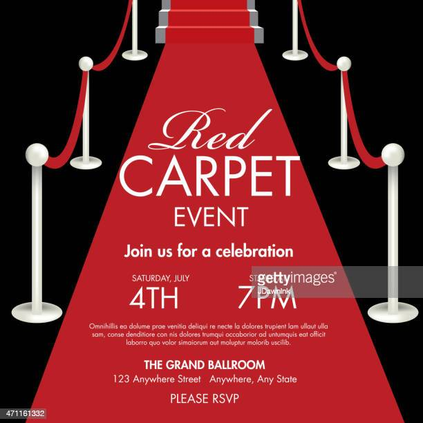 vintage style red and black carpet event ticket invitation template - red carpet event stock illustrations