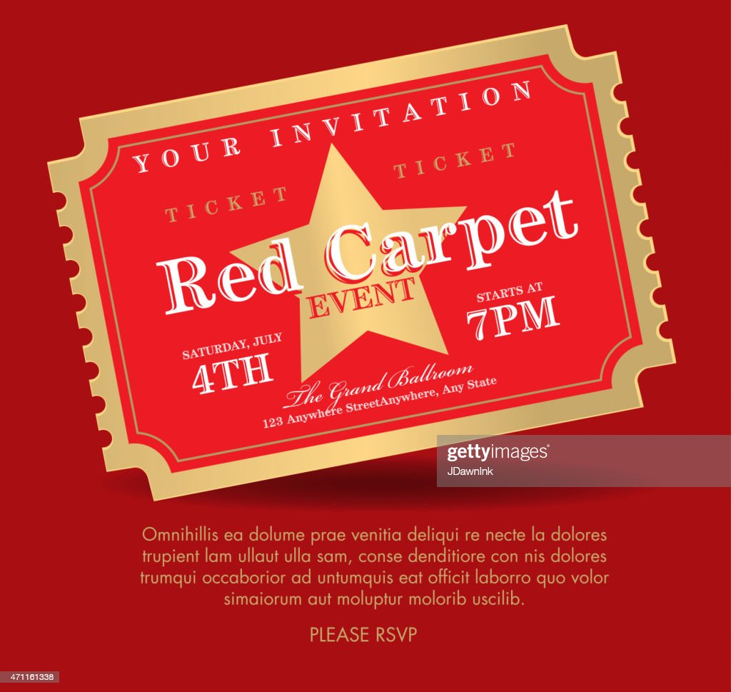 Vintage style Red and gold Carpet Event ticket invitation template