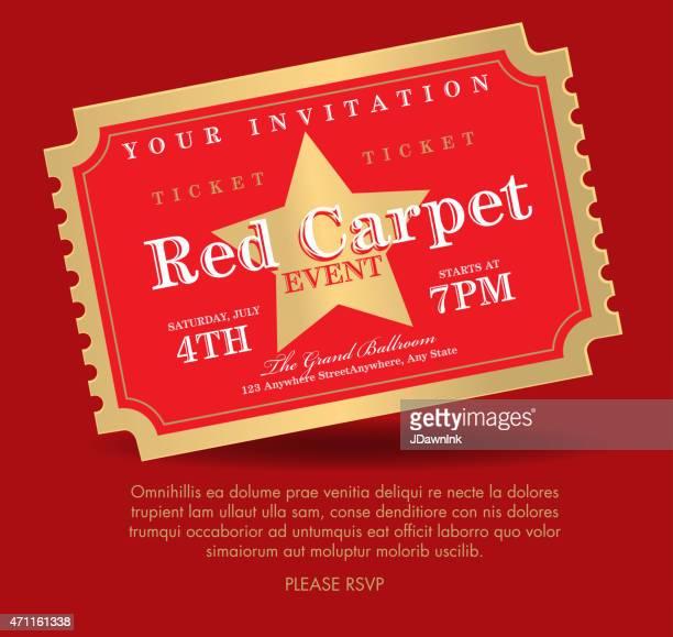illustrations, cliparts, dessins animés et icônes de style vintage rouge et or tapis billet invitation template - red carpet event