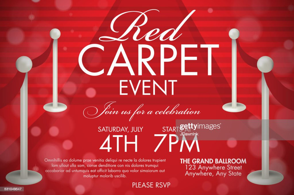 Vintage style Red Carpet  Event invitation template red stairs : stock illustration