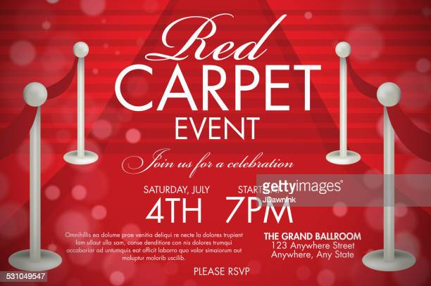 Vintage style Red Carpet  Event invitation template red stairs