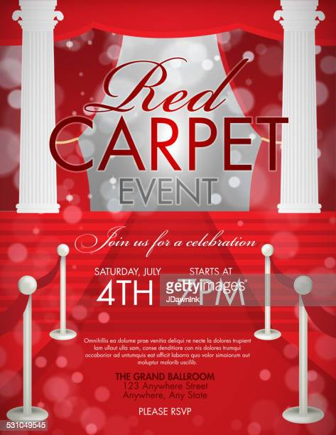 vintage style red carpet  event invitation template with white pillars - gala stock illustrations