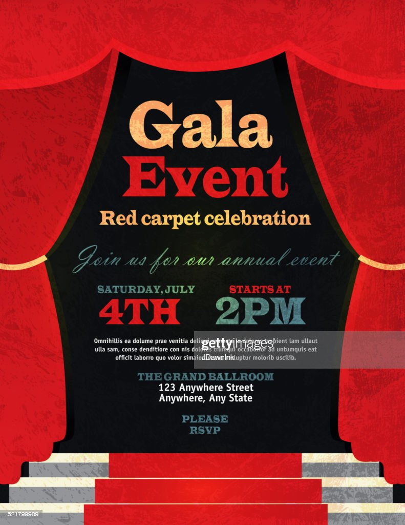 vintage style red curtian gala event invitation template vector art