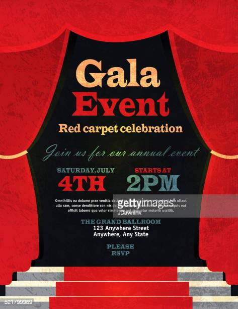 stockillustraties, clipart, cartoons en iconen met vintage style red curtian gala event invitation template - gala