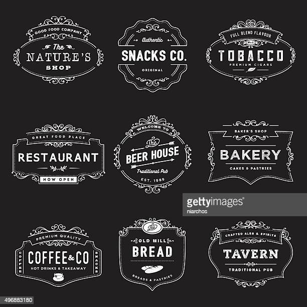 vintage style shop insignia - vintage restaurant stock illustrations