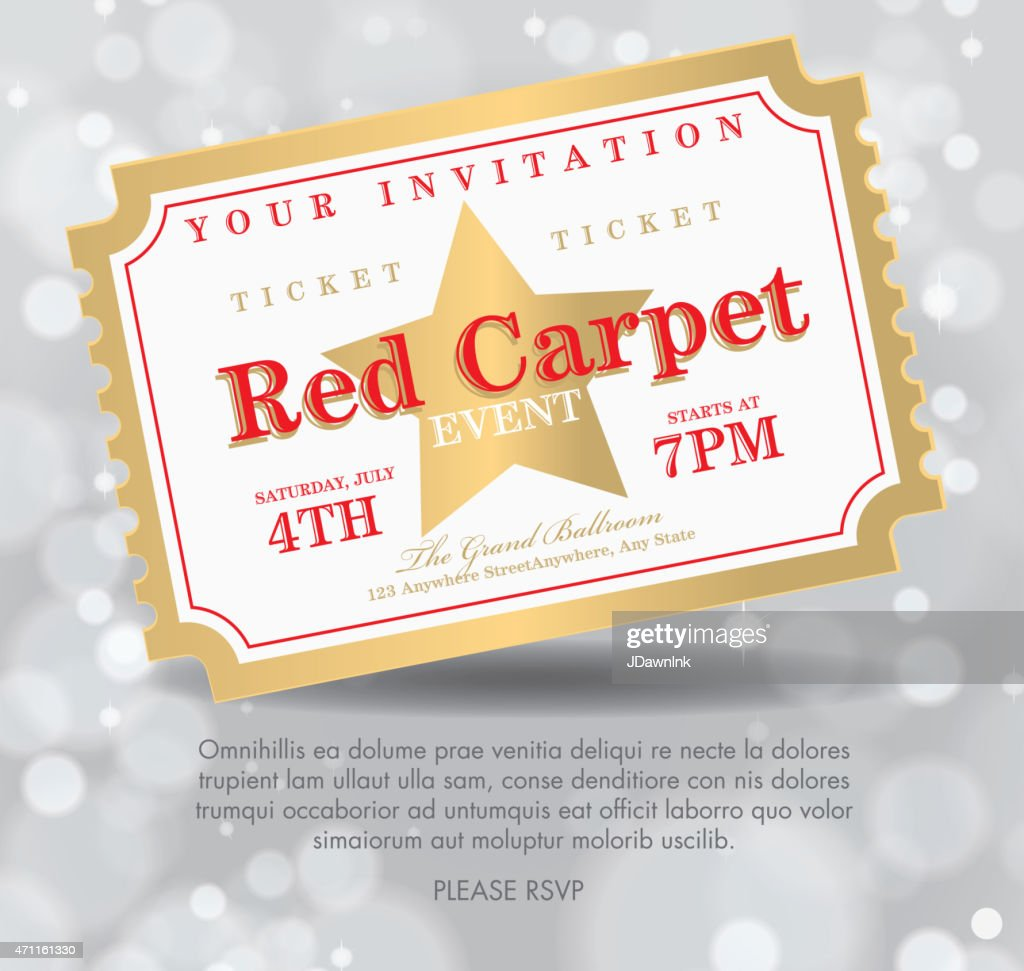 Vintage style silver bokeh Carpet Event ticket invitation template