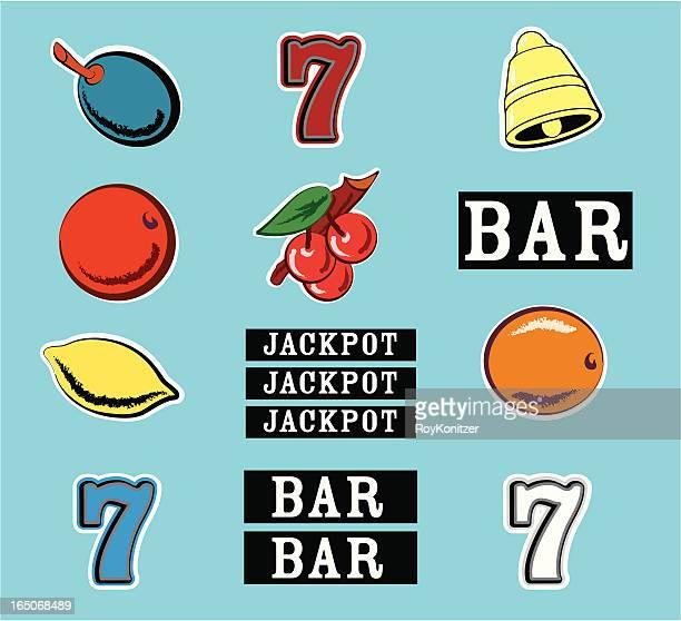 vintage style slot machine graphics - slot machine stock illustrations, clip art, cartoons, & icons