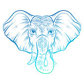 Vintage style vector elephant with ornate, neon color