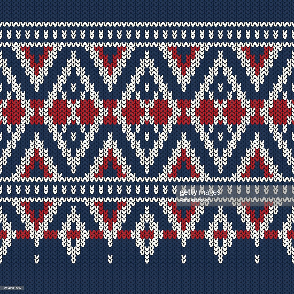Vintage Style Winter Holiday Seamless Knitted Pattern