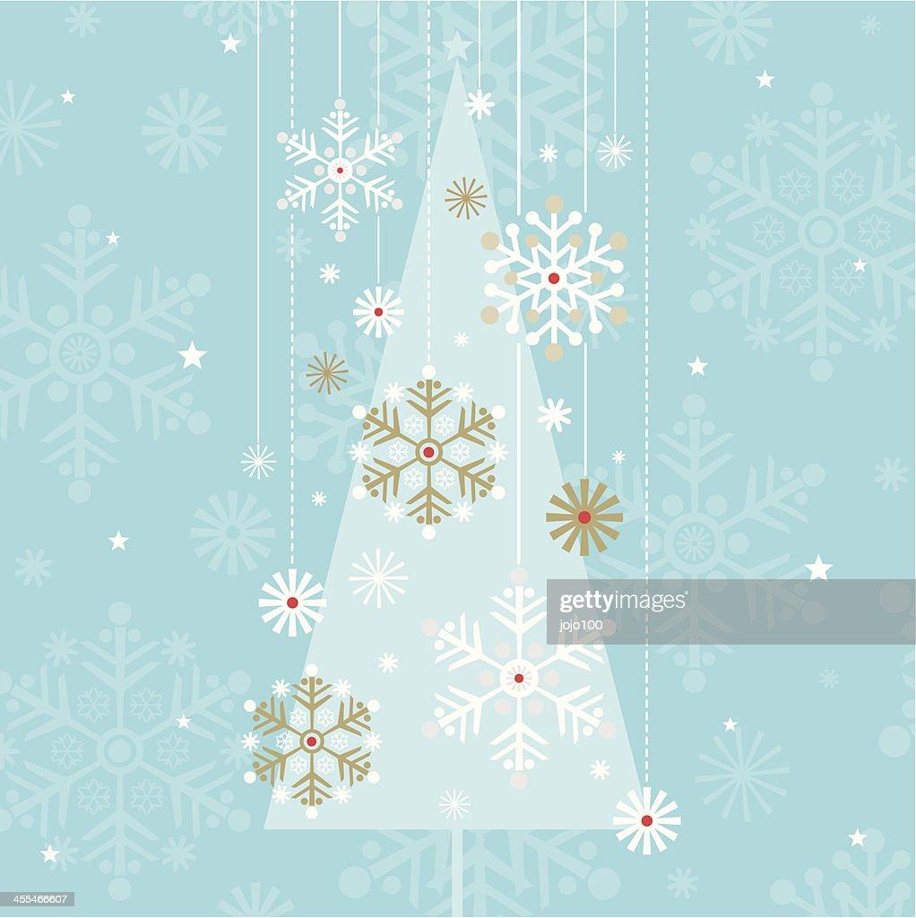 ビンテージスタイルのクリスマスツリーシルエットスノーフレークプリント