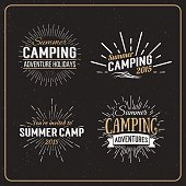 Vintage summer camp badges and other outdoor logos. Camping logo