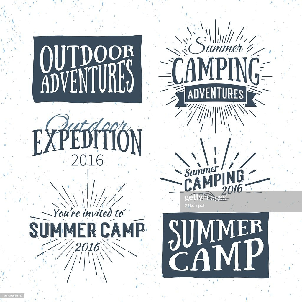 Vintage summer camp badges and outdoor adventure logos, emblems