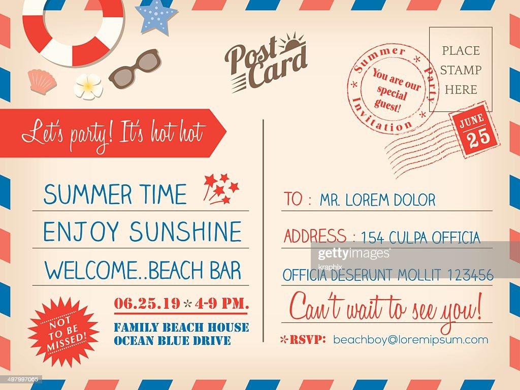 Vintage summer holiday postcard background