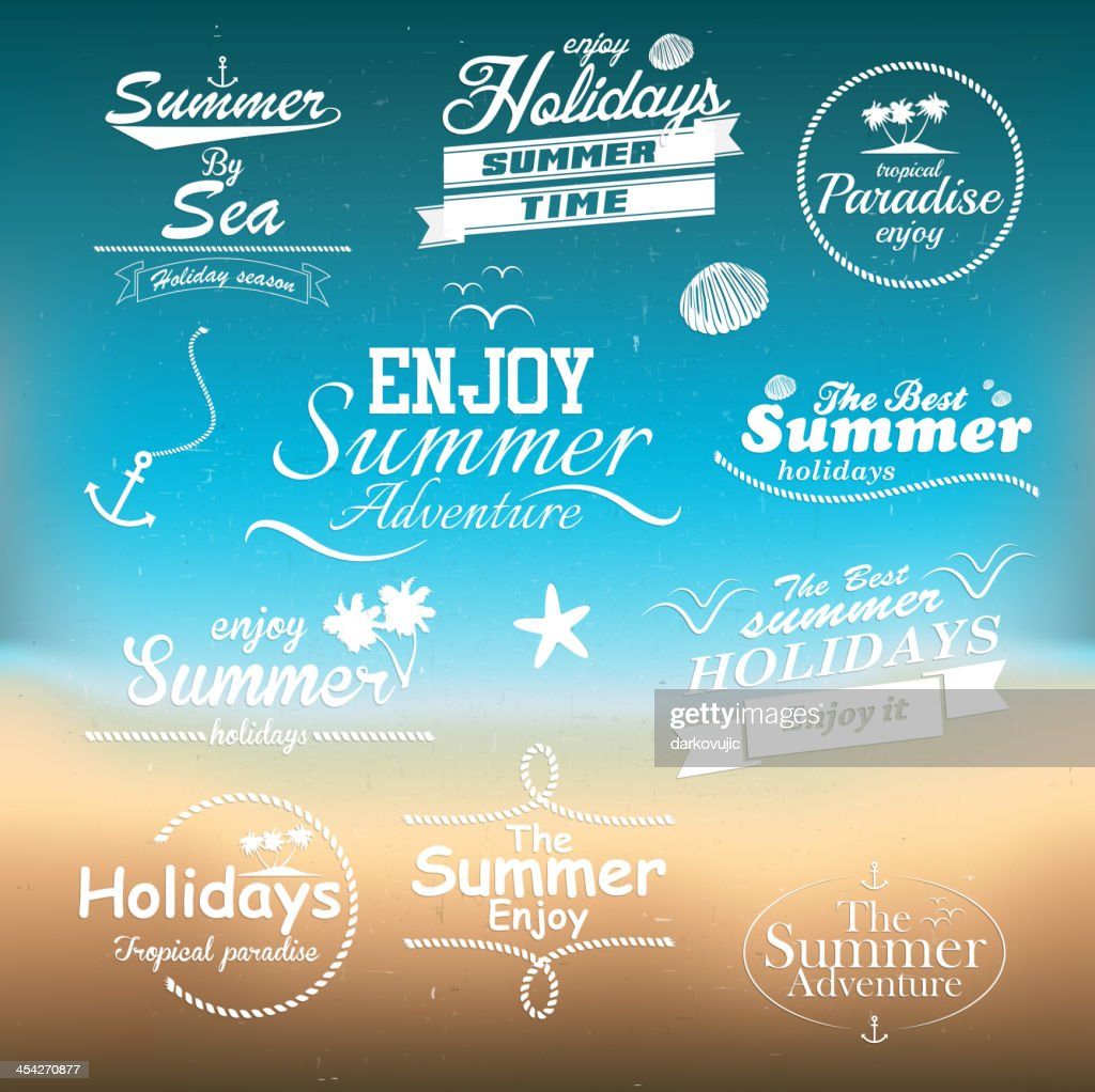 Vintage summer typography design with labels