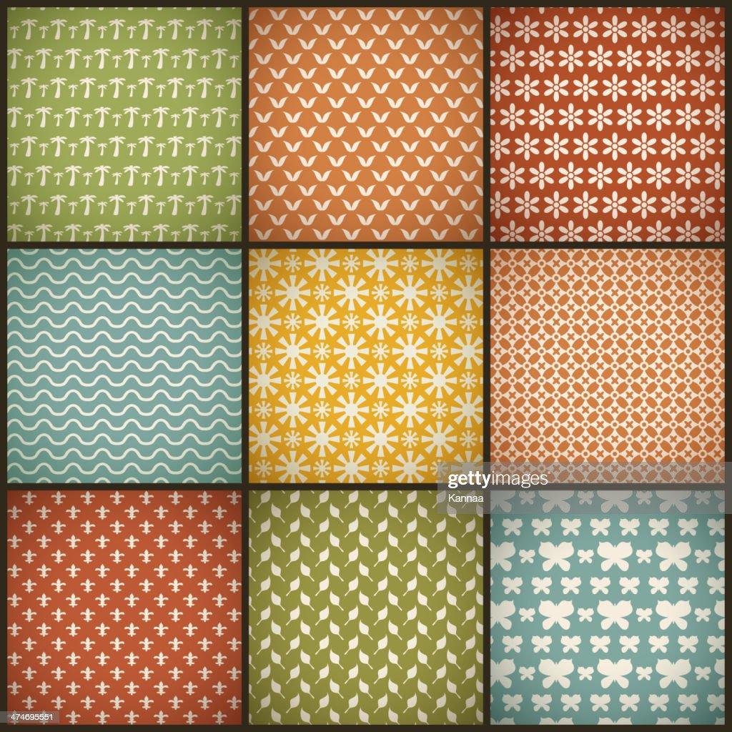 Vintage summer vector seamless patterns