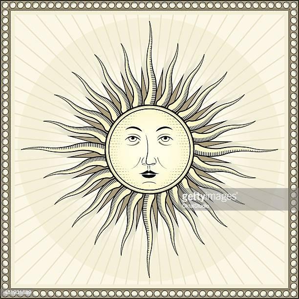 ilustraciones, imágenes clip art, dibujos animados e iconos de stock de vintage sol - sol en la cara