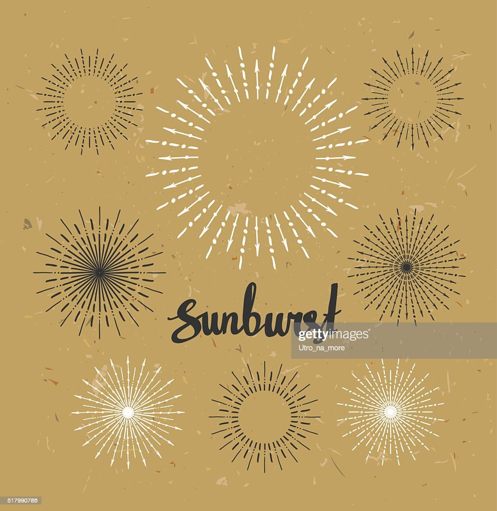 Vintage sunburst collection. Hipster style on the craft paper.