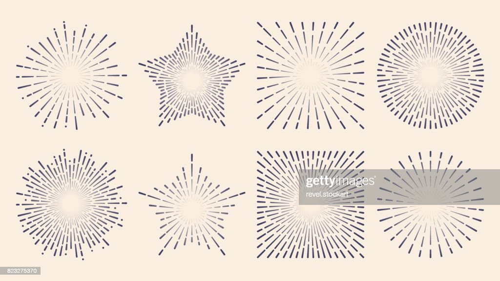 Vintage sunburst starburst abstract retro sunshine line splash