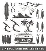 Vintage surfing elements