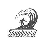 vintage surfing label, badge and emblem