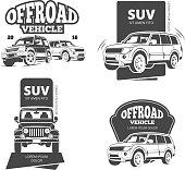 Vintage suv car vector badges, labels, logos