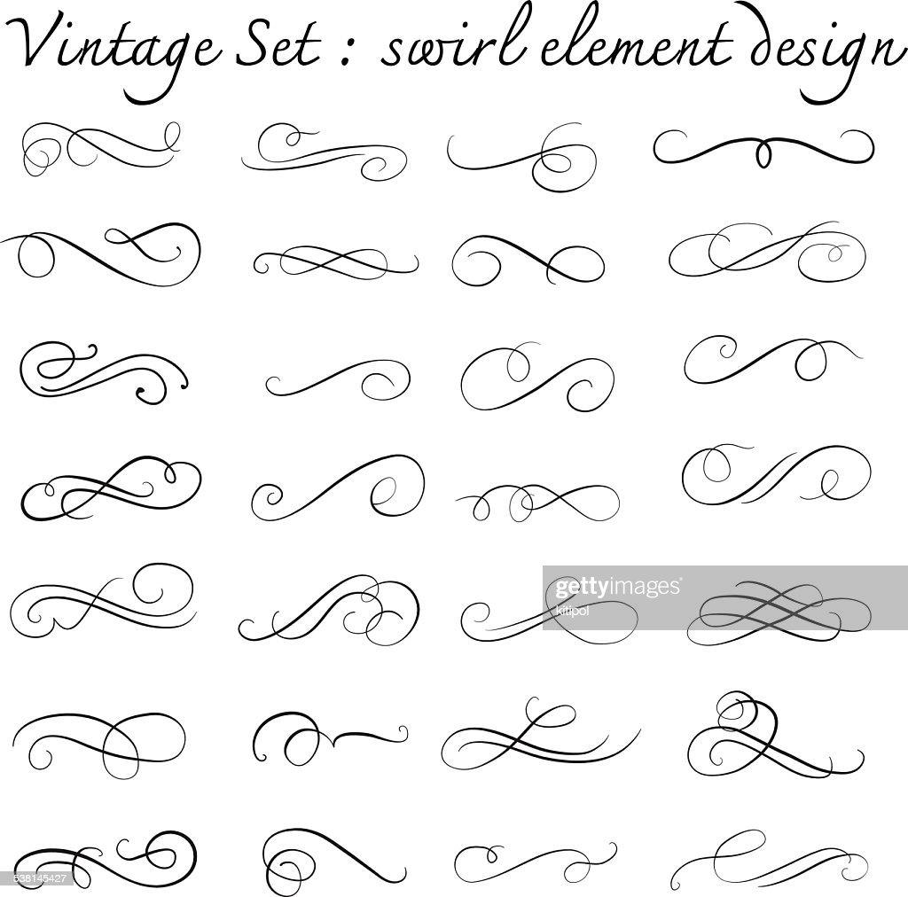vintage swirl design element set,page decoration,vector illustra