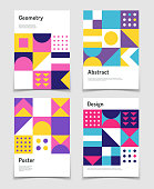 Vintage swiss graphic, geometric bauhaus shapes. Vector posters in minimal modernism style
