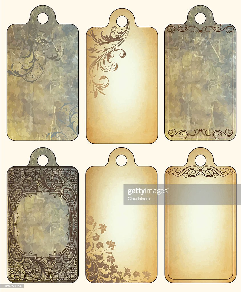 Vintage Tag Set with scrollwork : stock illustration