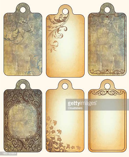 vintage tag set with scrollwork - luggage tag stock illustrations, clip art, cartoons, & icons