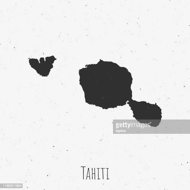 vintage tahiti french polynesia map with retro style, on dusty white background - french overseas territory stock illustrations