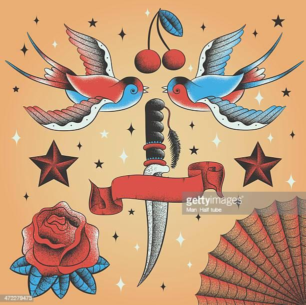 illustrations, cliparts, dessins animés et icônes de ensemble vintage tatouage - hirondelle