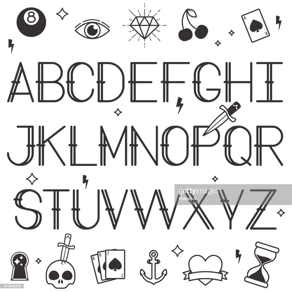 Vintage Tattoo Style Alphabet In White Background