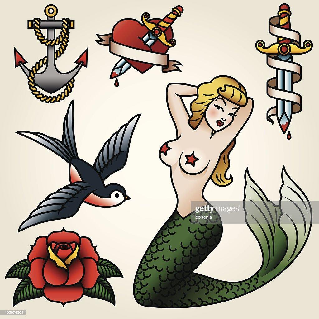 Tatuaje estilo Vintage-Conjunto de iconos : Ilustración de stock