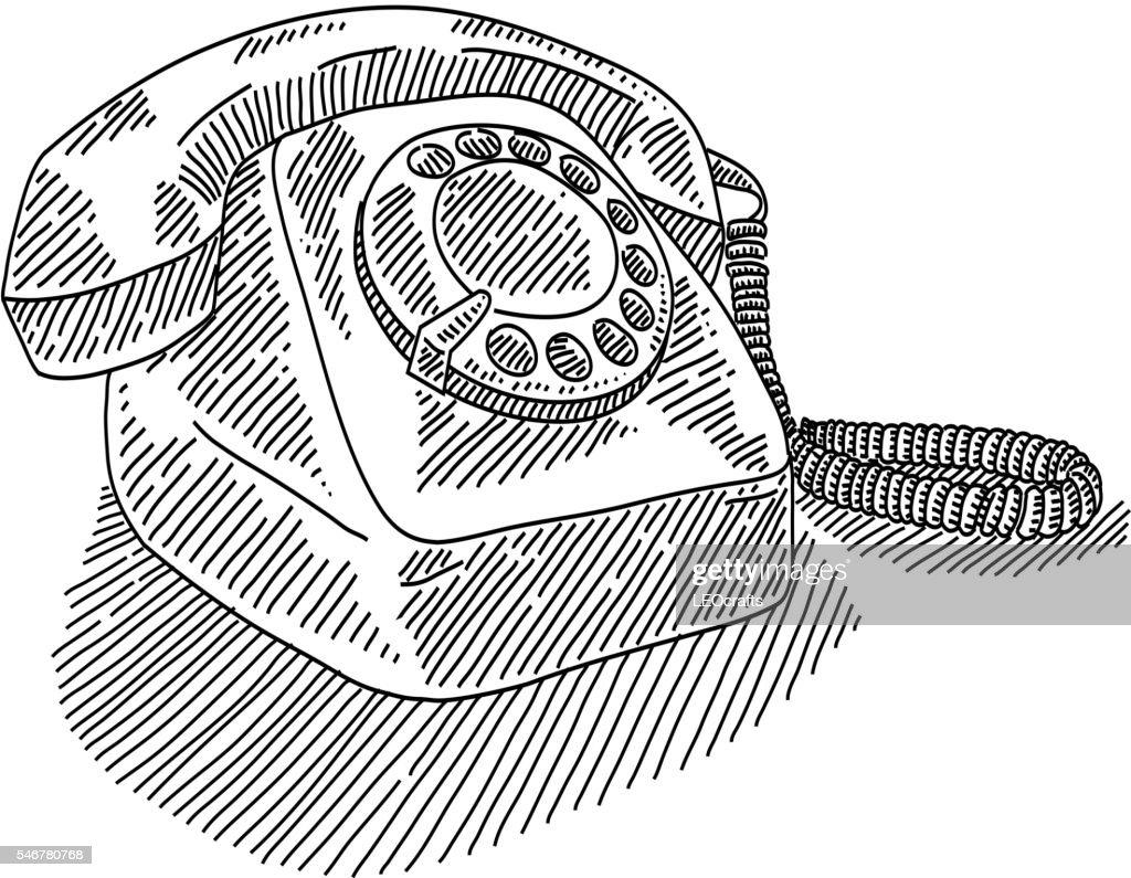 Vintage Telephone Drawing Vector Art