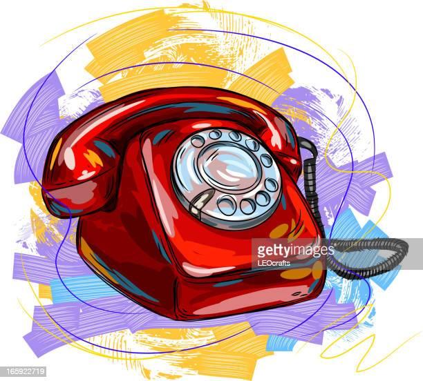 ilustraciones, imágenes clip art, dibujos animados e iconos de stock de vintage teléfono - telefono fijo