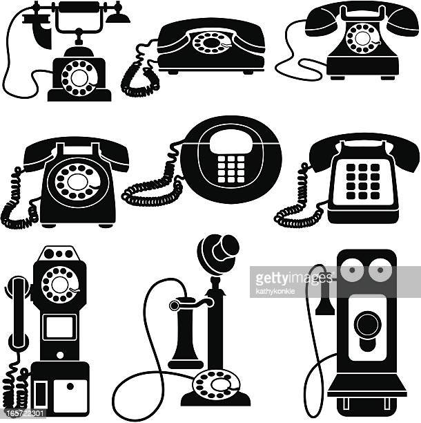 vintage telephones black and white - phone cord stock illustrations, clip art, cartoons, & icons