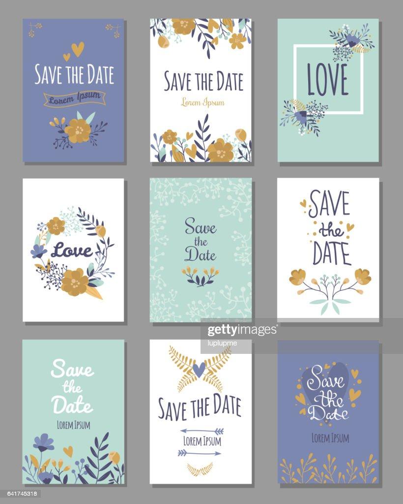 Vintage template colorful save date print layout design vector illustration