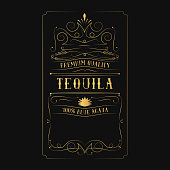 Vintage tequila golden label for alcohol bottle with lettering. Hand drawn gold frame typography border.