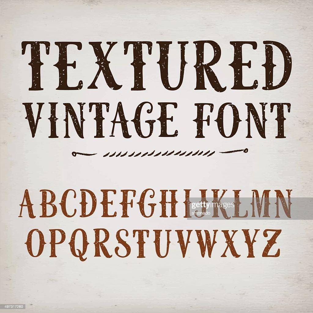 Vintage textured vector font