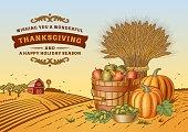 Vintage Thanksgiving Landscape