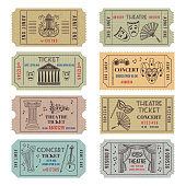 Vintage theatre or cinema tickets with different monochrome symbols of ballet or opera