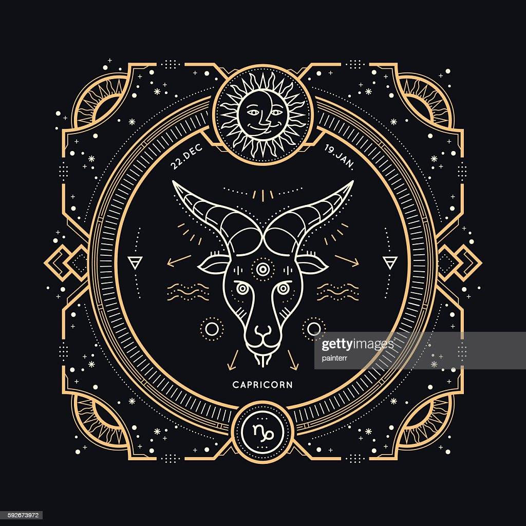 Vintage thin line Capricorn zodiac sign label.