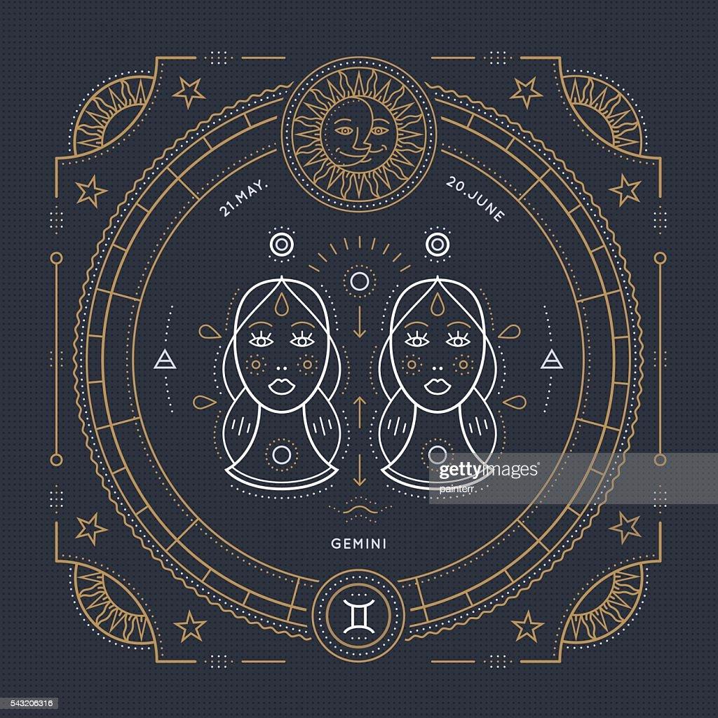 Vintage thin line Gemini zodiac sign label. Stroke outline illustration.