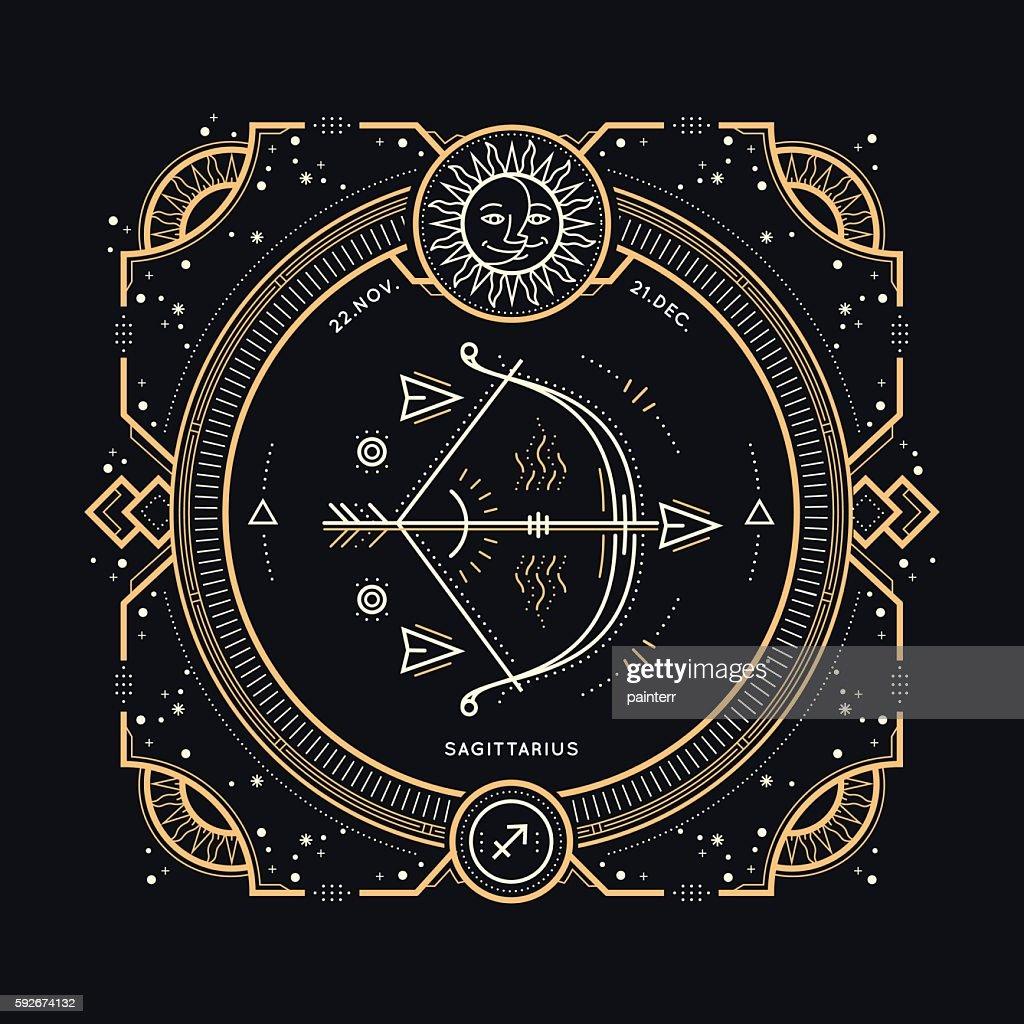 Vintage thin line Sagittarius zodiac sign label.