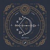 Vintage thin line Sagittarius zodiac sign label.Stroke outline illustration.