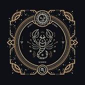 Vintage thin line Scorpio zodiac sign label.